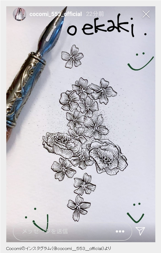 cocomiは絵が下手?上手いと噂の花の画法