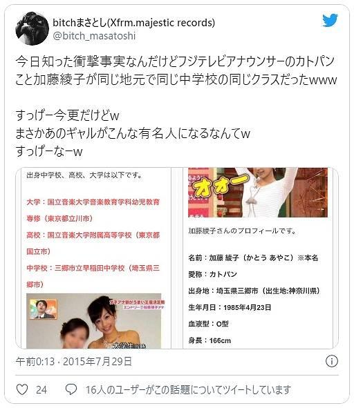 加藤綾子の同級生がギャル時代を語る