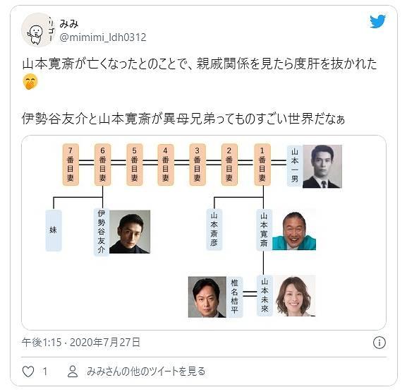 山本寛斎と伊勢谷友介さんの家系図