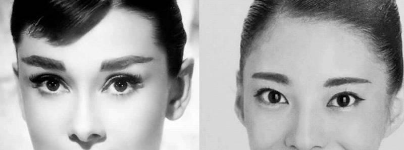 星蘭ひとみとオードリーヘップバーンの目を比較