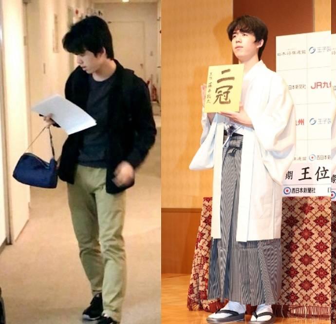 藤井聡太の普段着と着物姿1