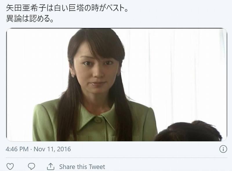 矢田亜希子の昔・白い巨塔の画像