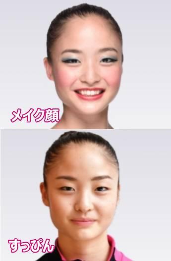 新体操の皆川夏穂のメイク顔とすっぴん比較